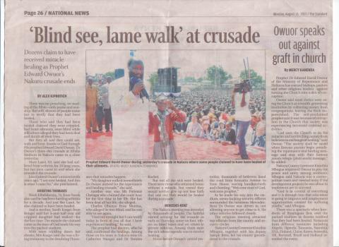 Uutislehti Keniassa 12.8.2013